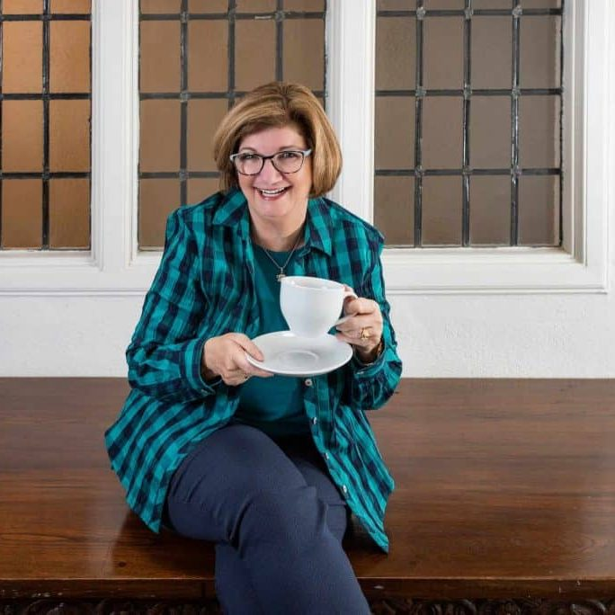 Breeda Miller enjoying a really big cup of tea.